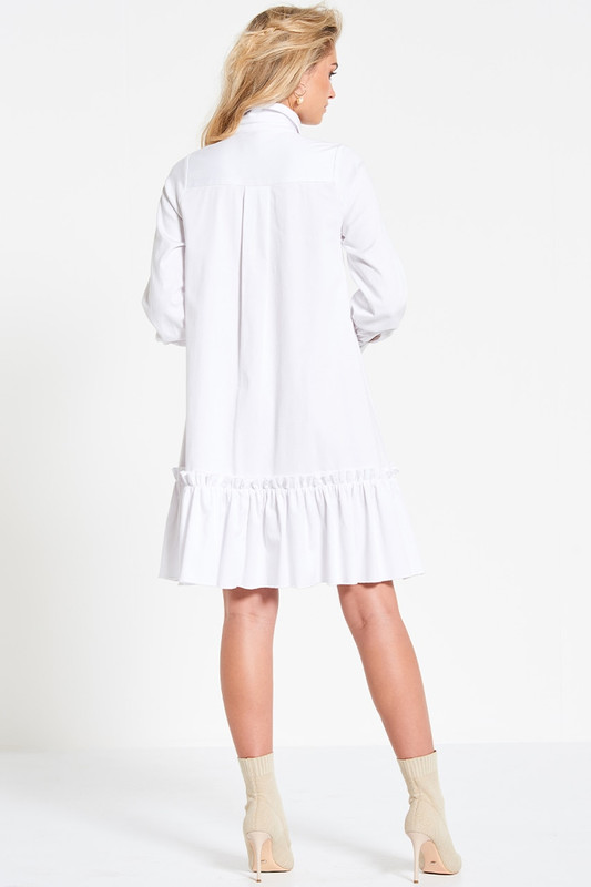 Collared Utility Swing Dress in White