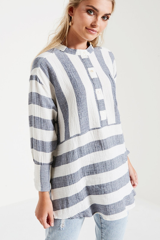 Relaxed Pocket Shirt in Ocean Stripe