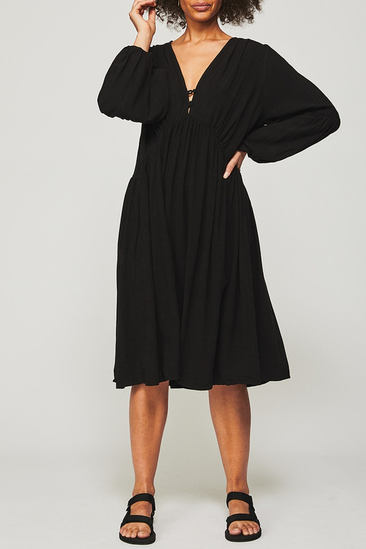 Button Back Midi Dress in Black Linen