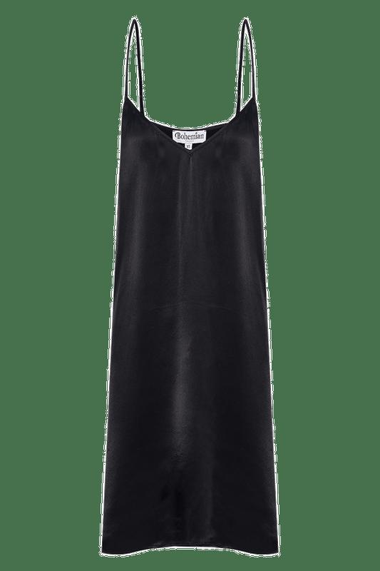 Midi Slip Dress in Black