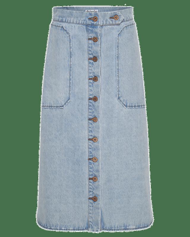 Denim Utility Midi Skirt in Ice Blue