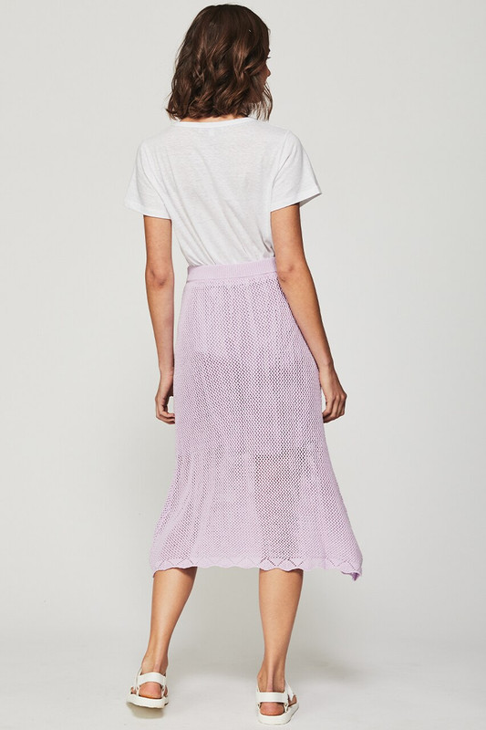 Knit Midi Skirt in Lavender
