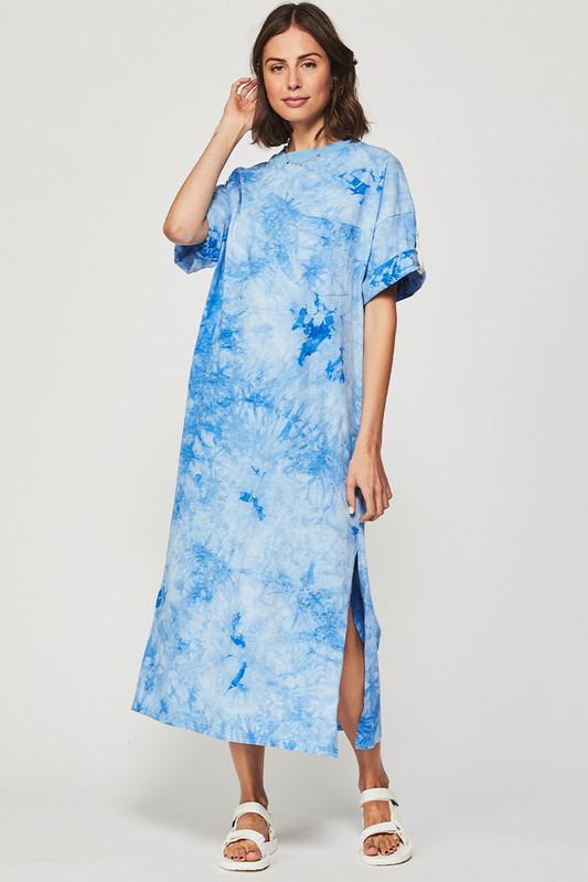 Pocket T Shirt Dress in Azure Tie Dye