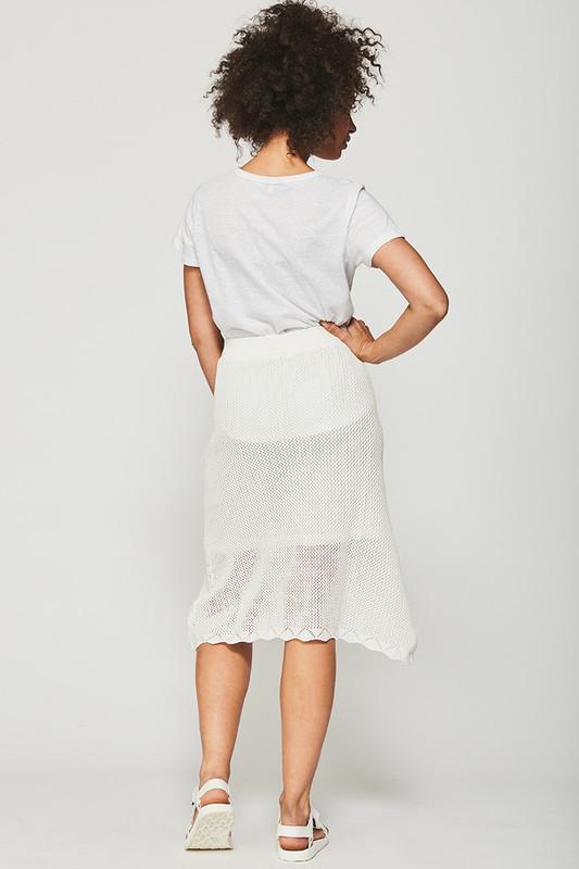 Knit Midi Skirt in Snow White