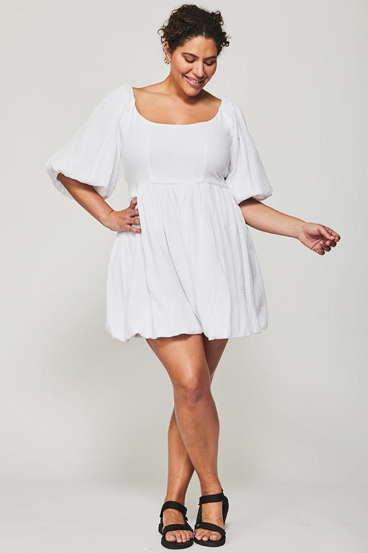 Carrie Mini Dress in White Textured Cotton