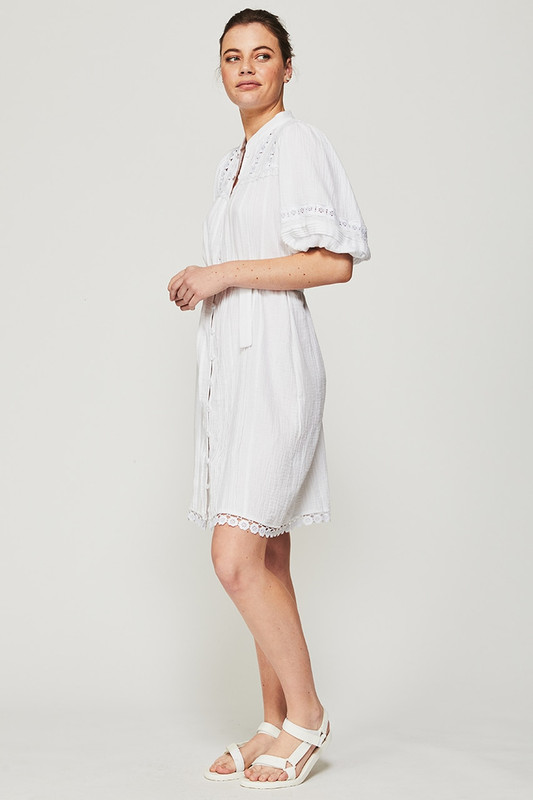 Bonnie Dress in White Textured Cotton