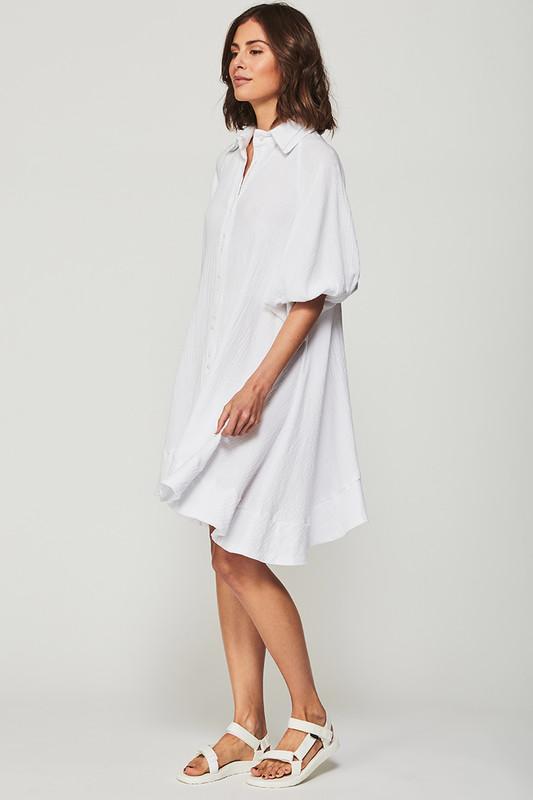 Dakota Dress in White Textured Cotton