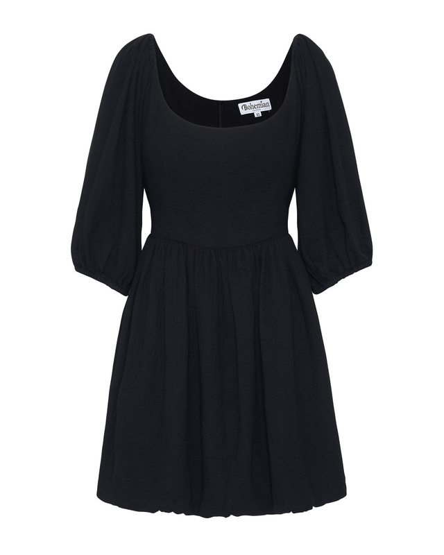 Carrie Mini Dress in Black Textured Cotton