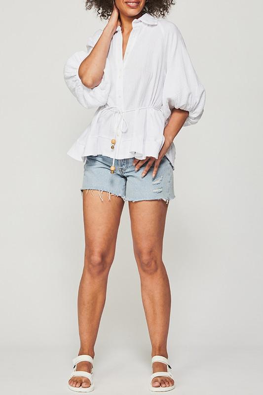 Dakota Top in White Textured Cotton