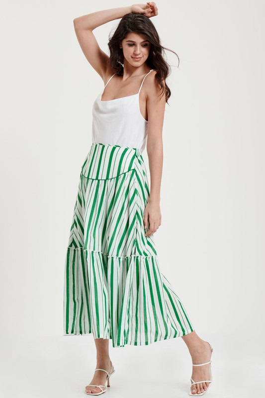Salona Tiered Skirt in Jade Stripe