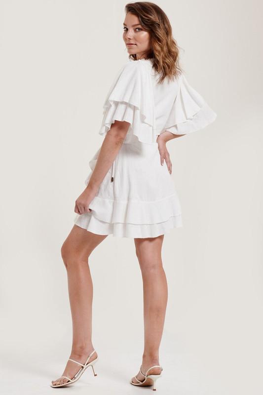 Sunday Wrap Dress in Dove White Linen