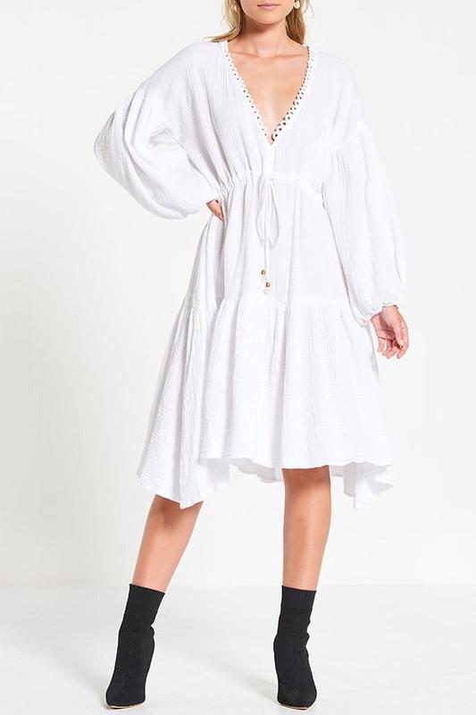 Billow Sleeve Dress in White Textured Cotton