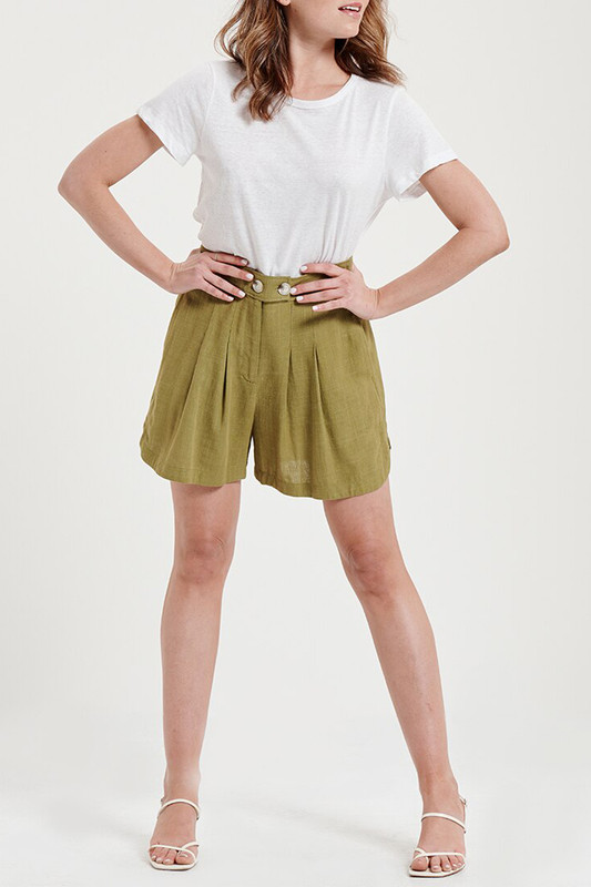 Lena Shorts in Chartreuse Linen