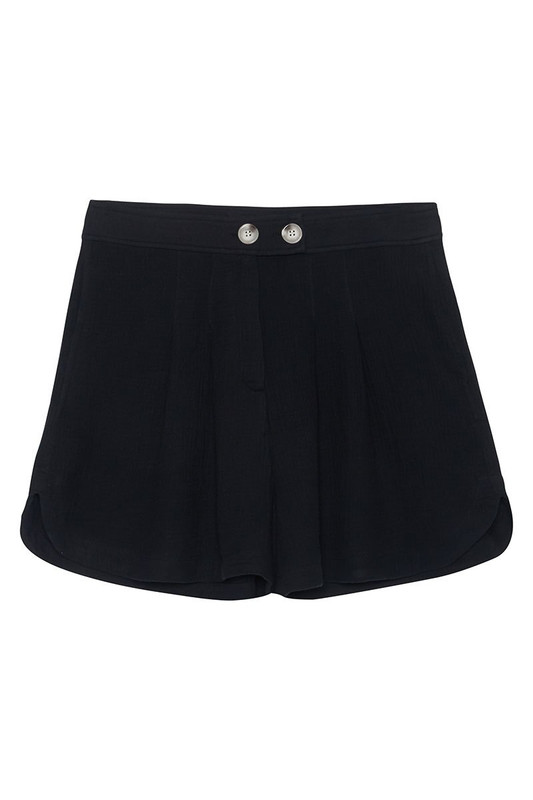 Lena Shorts in Black Textured Cotton