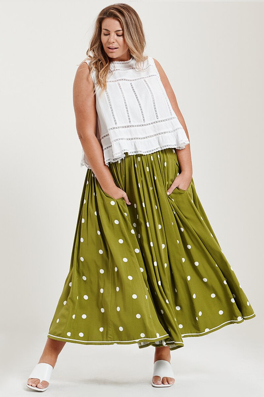 Rell Circle Skirt in Chartreuse Spot
