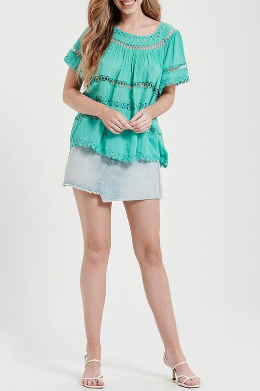 Lace Trim Blouse in Teal