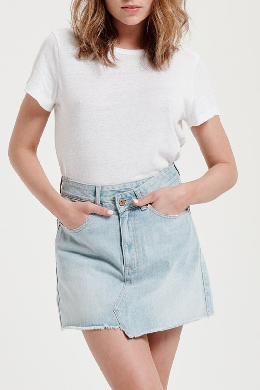 Denim Skirt in Ice Blue