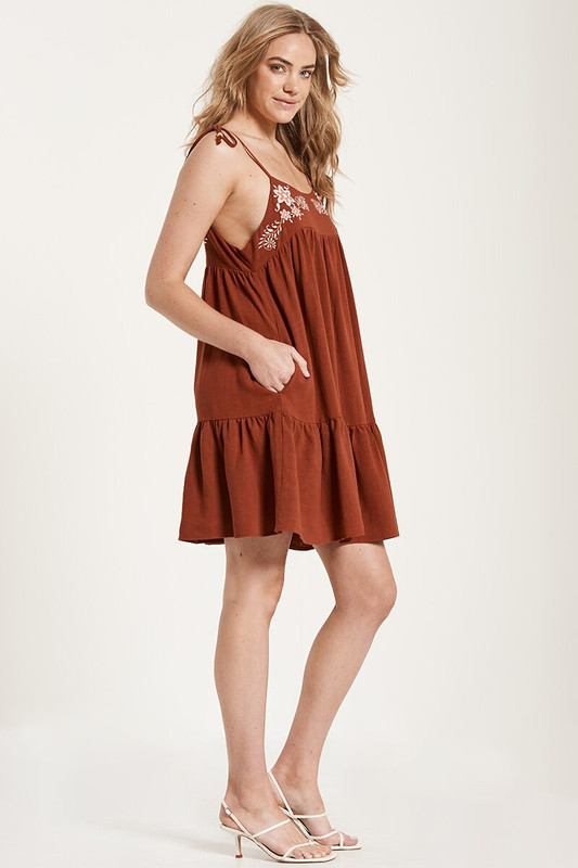 Embroidered Tie Up Mini Dress in Rust