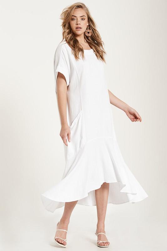 Backless Fluted Hem Dress in White
