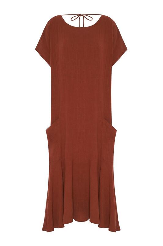 Backless Fluted Hem Dress in Rust