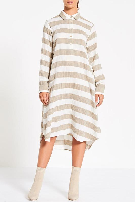 Boyfriend Shirt Dress in Stone Stripe