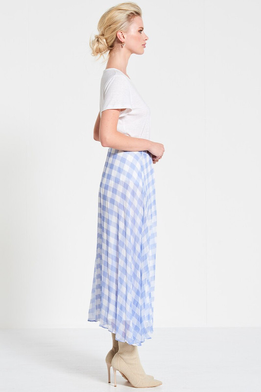 Pleated Midi Skirt in Ice Blue Check