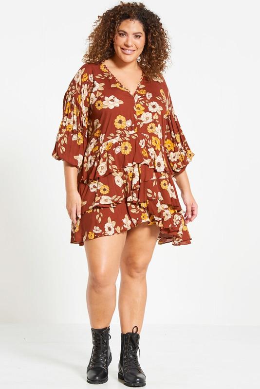 Ruffle Hem Mini Dress in Magnolia