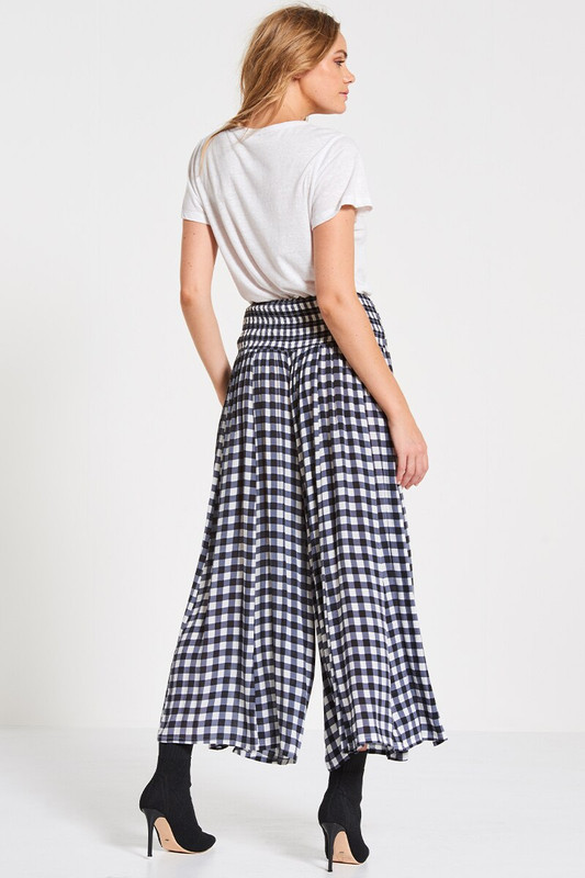 Palazzo Pant in Slate Gingham