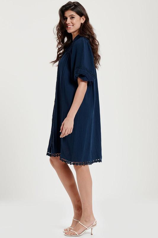 Bonnie Dress in Navy Textured Cotton