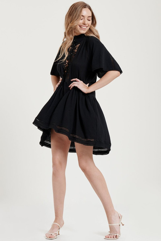 Olive Dress in Black Textured Cotton