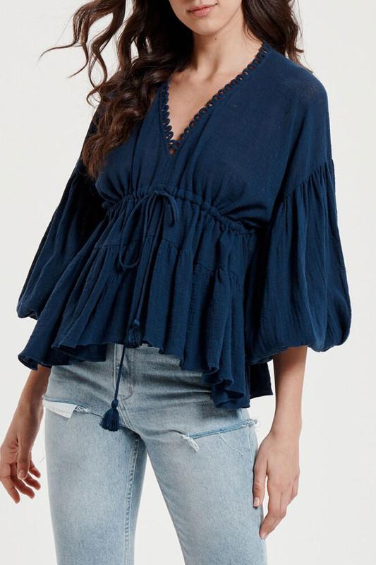 Billow Sleeve Top in Navy Textured Cotton