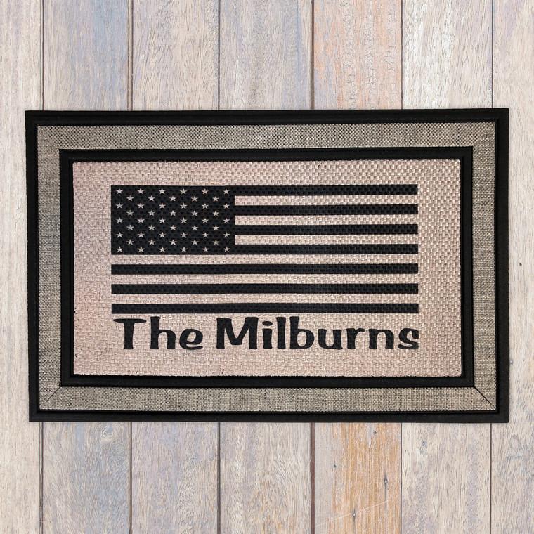 Last name family american flag door mat