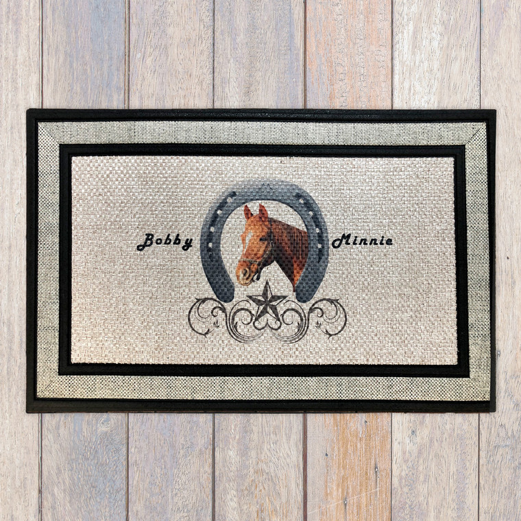 horse and horseshoe door mat