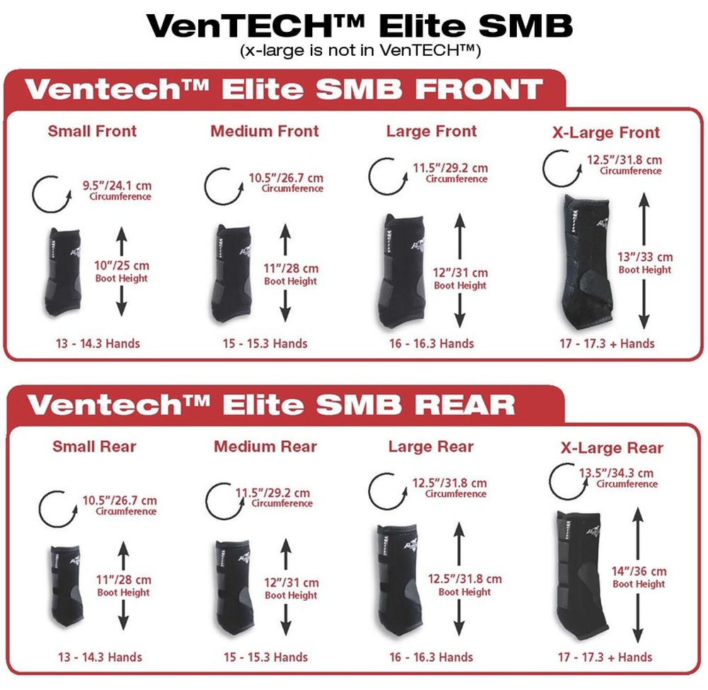 Sizing Chart to determine the size you need for the Professional's Choice Ventech Elite Sports Medicine Boots.  The best way to determine the correct size is the measure around the fetlock as that is the most important measurement to get correct.  www.discounthorsetrainingsupplies.com is happy to help you with sizing questions if needed.