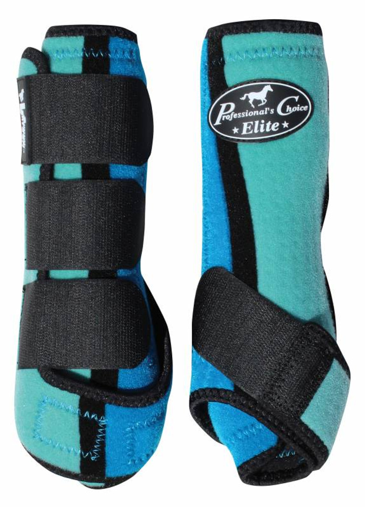 Professional's Choice Ventech Elite Value Pack in Turquoise/Royal.  The value combo pack includes both the front and rear Professional's Choice Ventech Elite Boots at a discounted price.