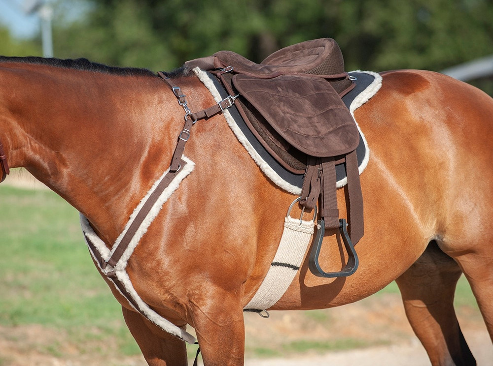 Cashel Soft Saddle G2 in the new brown color; the perfect compromise between a saddle an bareback pad.  Shown with optional  black soft saddle pad. Breast Collar and cinch shown in picture are not included