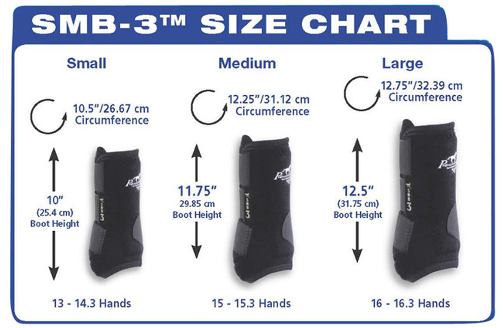 Professional's Choice Sport Medicine Boots; SMB-3 Value Pack Sizing Chart.
