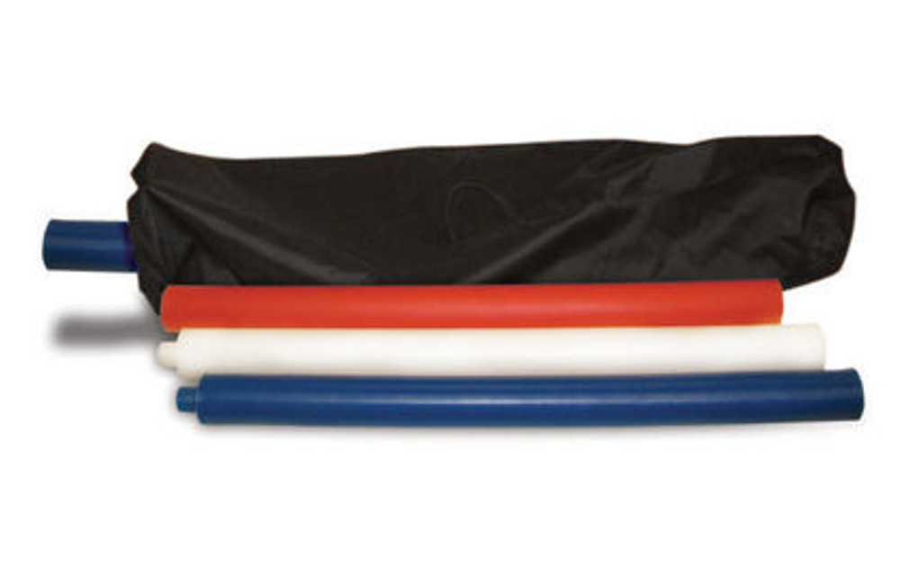 The High Country Plastics Pole Bending Bases with Poles Ultimate combo set is the only option that we sell that includes storage bags for both the poles and bases.  This picture shows the pole storage bag.  The pole storage bag is NOT included with any option except the ultimate package which includes bases, poles and storage bags.