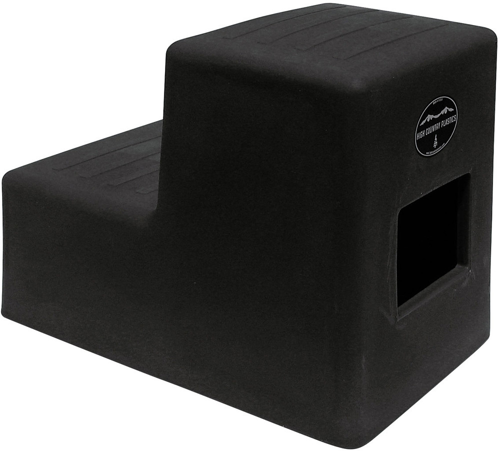 High Country Plastics 2 Step Horse Mounting Block; a great step and best seller; Black