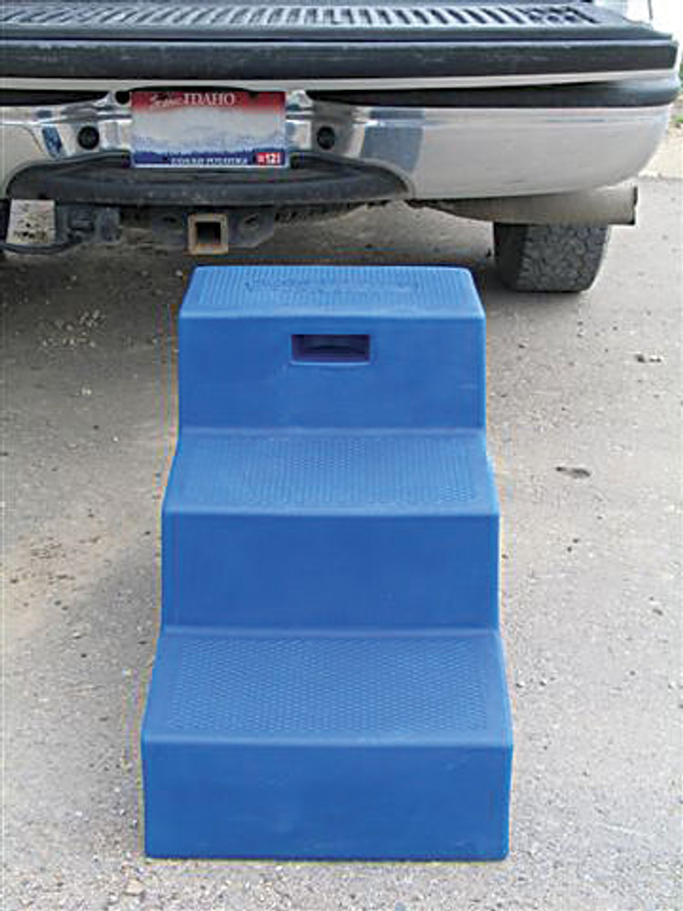 High Country Plastics 3 Step Mounting Block front view showing deeper depth of steps for safer use and easy carry handle.