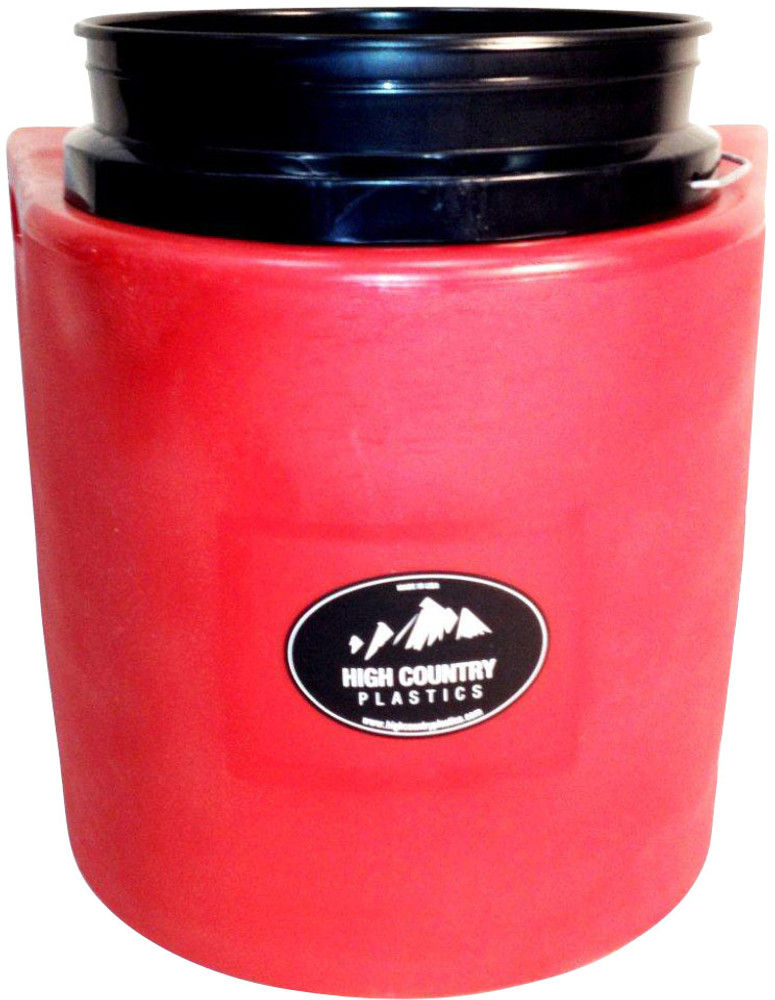 High Country Plastics Insulated Water Bucket Holder, Bucket, and float; when being used can keep water from freezing down to 15 degrees. Red