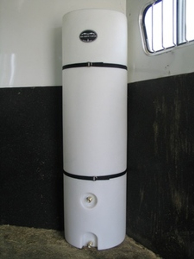 High Country Plastics Half Moon Upright Water Caddy; Flat back design fits well up against flat walls in horse and stock trailers.  Two valves make using a bucket or hose easier.
