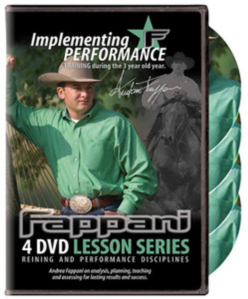Andrea Fappani Performance Horse Training DVD; Implementing Performance 3 Year Old.  4 DVD set.