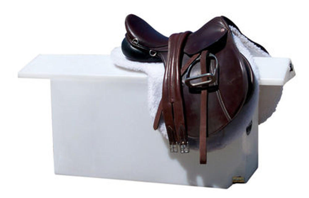 Dry Camp Water Tank and Saddle Rack; this water caddy maximizes space by storing 30 gallons of water while holding two saddles.