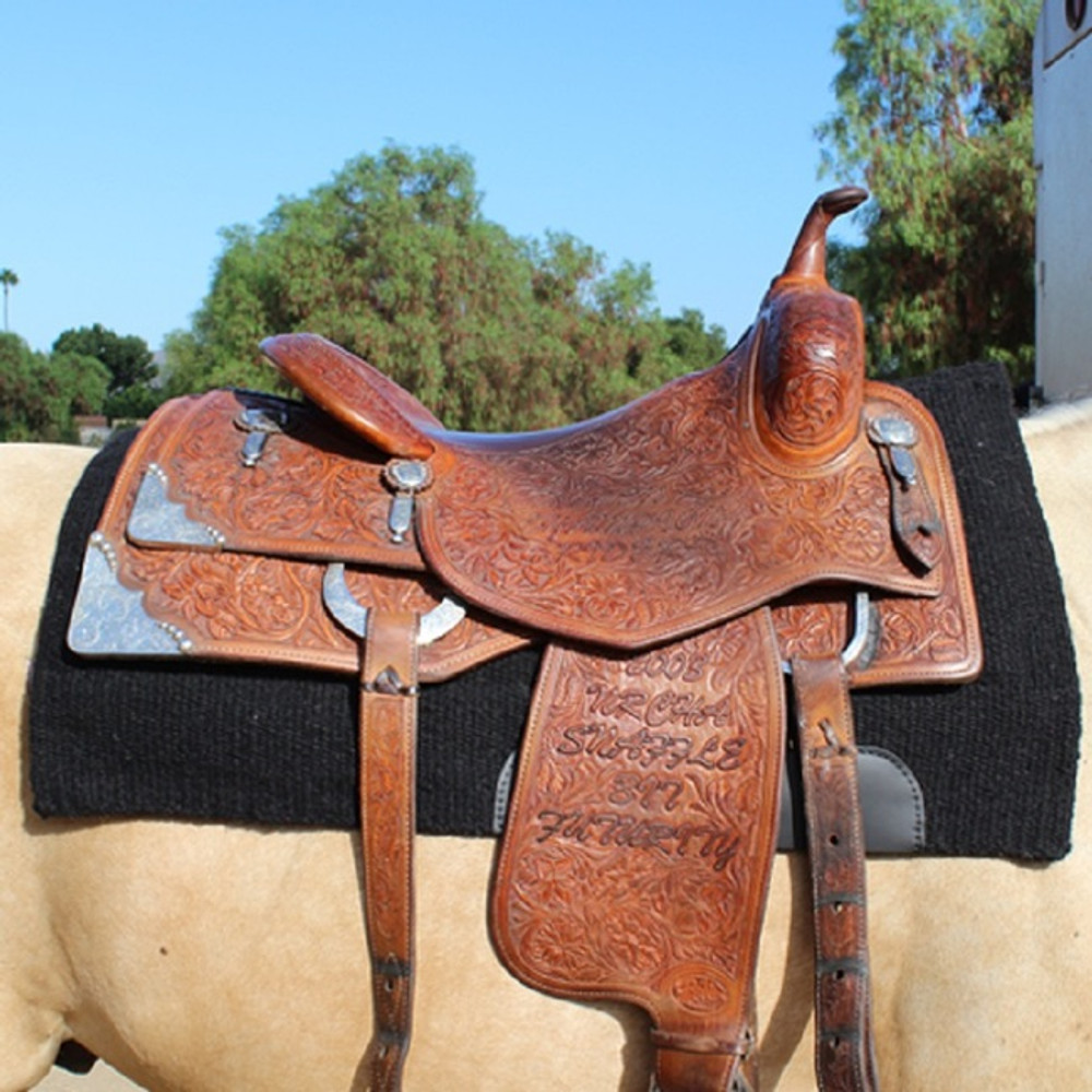 Professional's Choice Comfort Fit SMx Heavy Duty Air Ride Western Saddle Pad; Solid Black design under saddle.