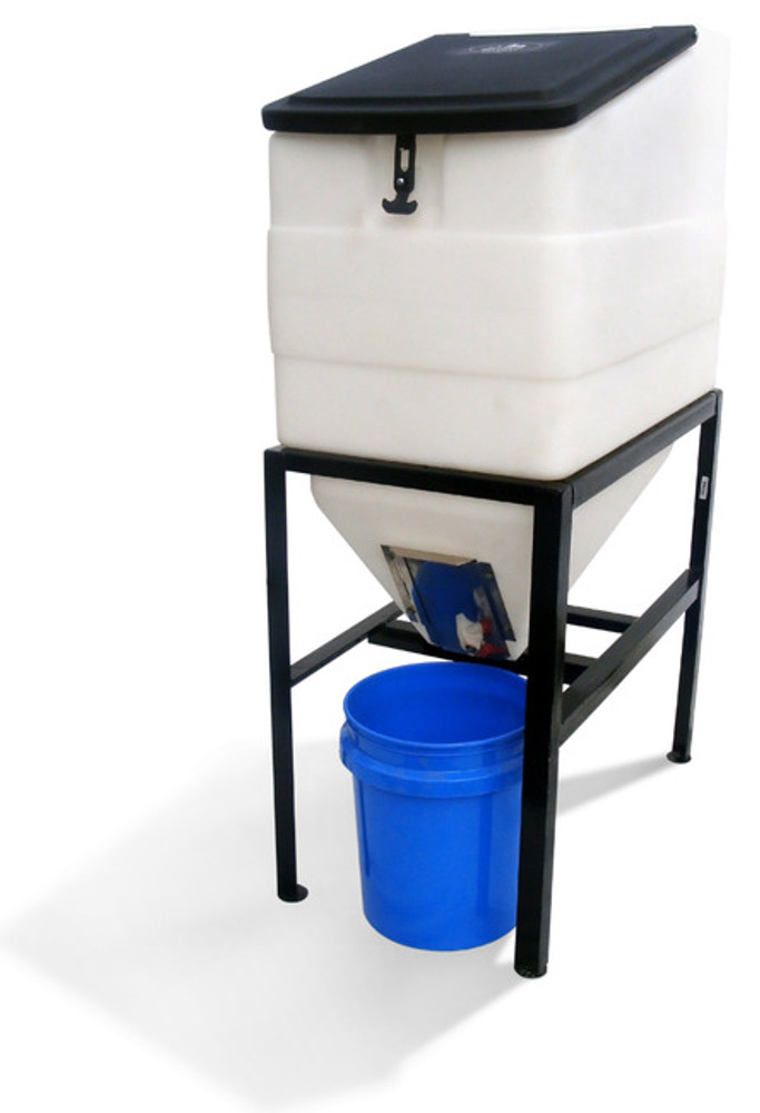 Feed Bin with Stand - High Country Plastics.  One of the best ways to store your horse feed.