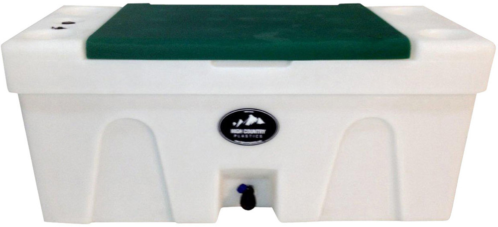 High Country Plastic Bench Water Caddie, green lid.  A great choice to bring water from home.