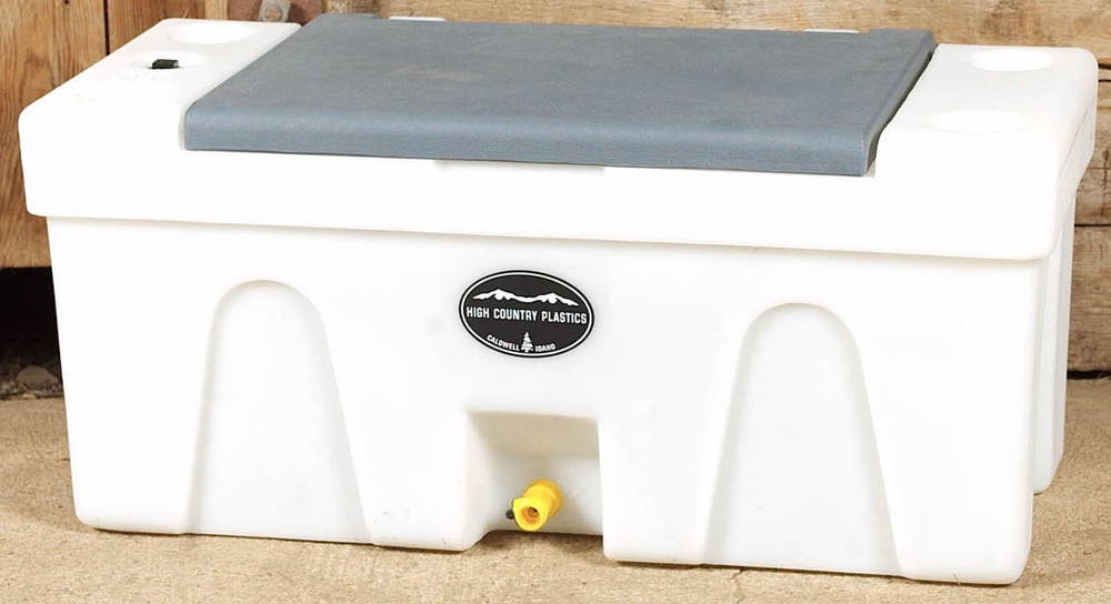 High Country Plastic Bench Water Caddie, gray lid.  A great choice to bring water from home.