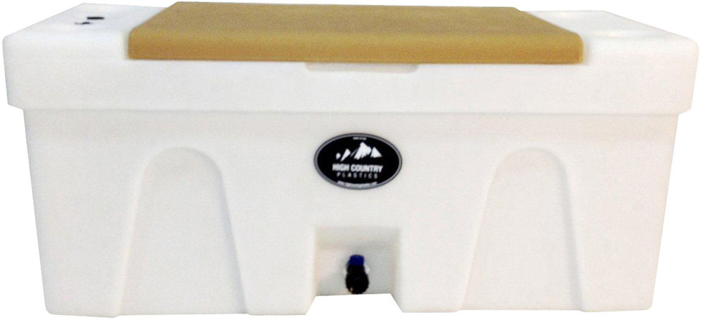 High Country Plastic Bench Water Caddie, tan lid.  A great choice to bring water from home.