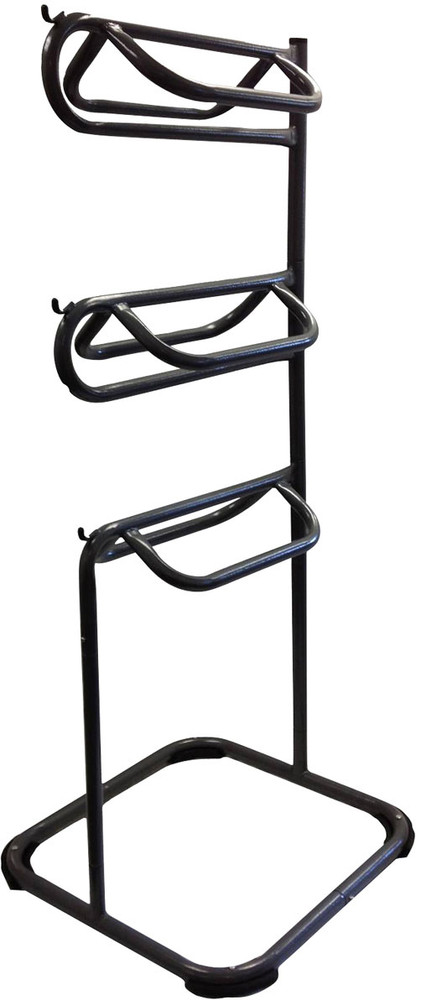 HCP Three Tier Saddle Rack shown in the forward configuration.  The top two tiers can swivel to the side.